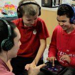 Kids mixing music