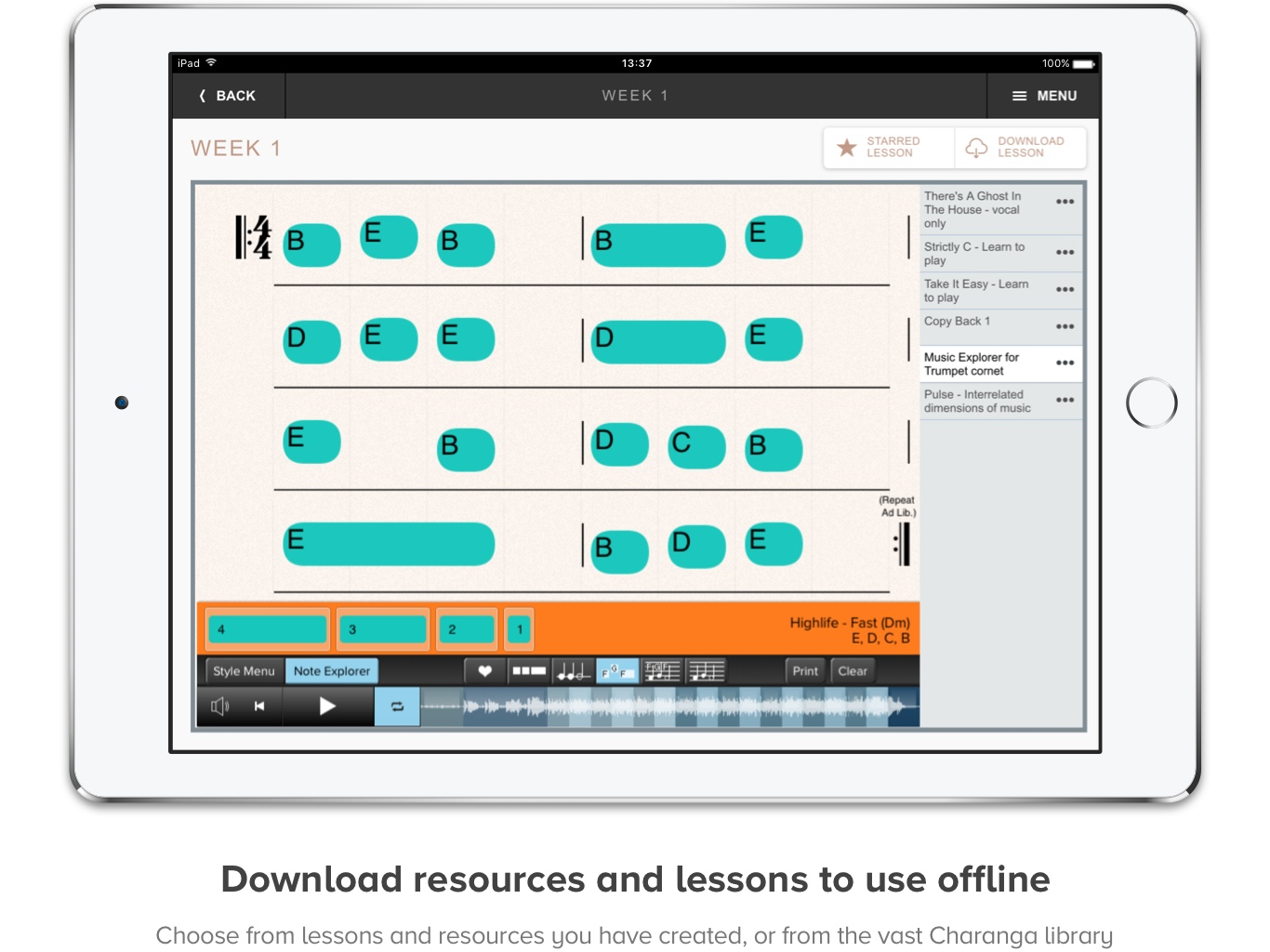 Screenshot of Music Pro on iPad